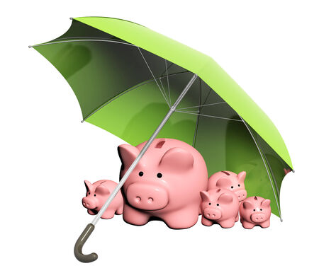 contributions: Insurance of bank contributions. Piggy banks and umbrella. Isolated on white background