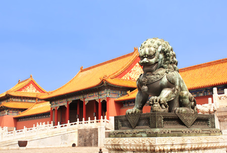 china art: Lion statue in Forbidden City, Beijing, China Stock Photo