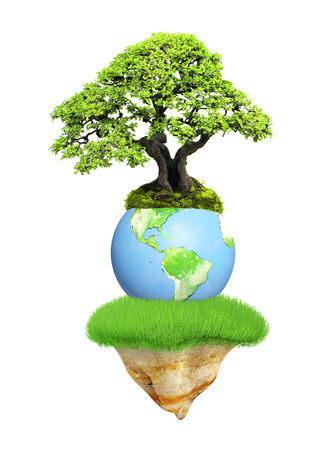 best shelter: Earth, flying island and tree. Isolated on white background. Elements of this image furnished by NASA