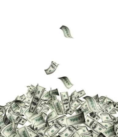 Vliegen bankbiljetten van dollars. Geà ¯ soleerd op witte achtergrond
