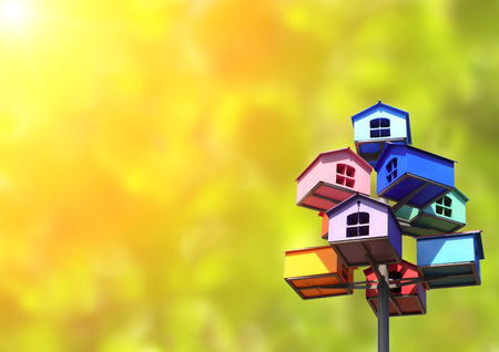 domiciles: Colorful nesting boxes on green background