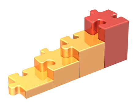 escalera: Las escaleras de cuatro piezas del rompecabezas. Aislado en el fondo blanco