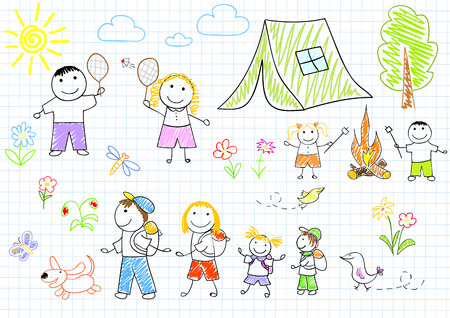 Happy family in camping. Sketch on notebook page Vector