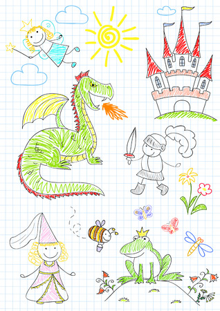 notebook page: sketches with characters of fairy-tales. Sketch on notebook page