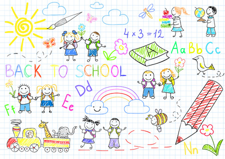 Back to school. sketches with happy pupils. Sketch on notebook page Vectores