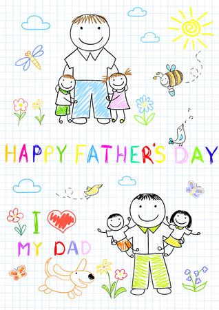 パパと一緒に幸せな子供たち。「ノートブック」ページでスケッチします。