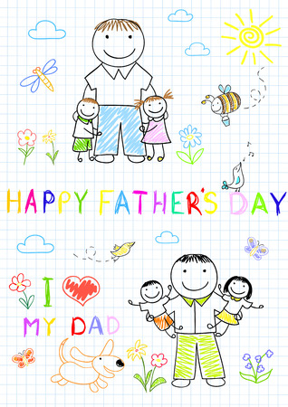 Happy children with dad. Sketch on notebook page Ilustração