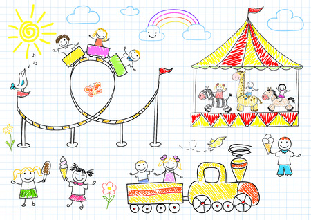 amusement park ride: Happy children ride on the carousel. Sketch on notebook page