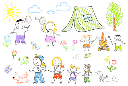 Happy family in camping. Sketch on notebook page photo