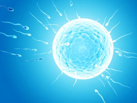 Spermatozoons, floating to ovule - 3d render