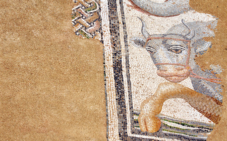 Ancient mosaic on floor in baths, Dion, Greece photo