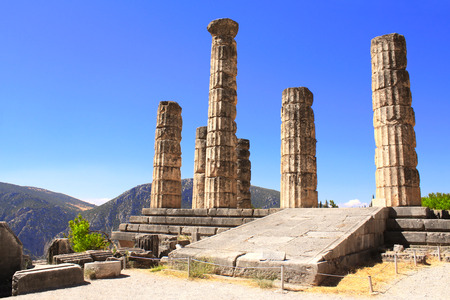Ruins of Temple of Apollo in the archaeological site of Delphi, Greece photo