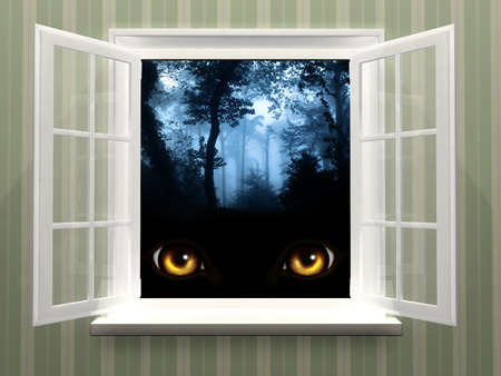 Eyes of monster  in open window photo