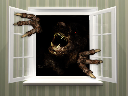 Monster in open window. 3d render photo