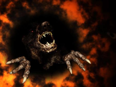 Monster in het vuur. 3d render