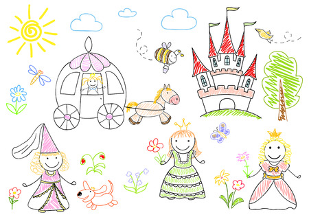 Sketches with happy little princesses. Sketch on notebook page