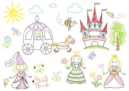 행복한 작은 공주와 스케치. 노트북 페이지에 스케치