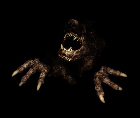 Monster in dark. 3d render
