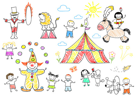 Happy children in circus photo