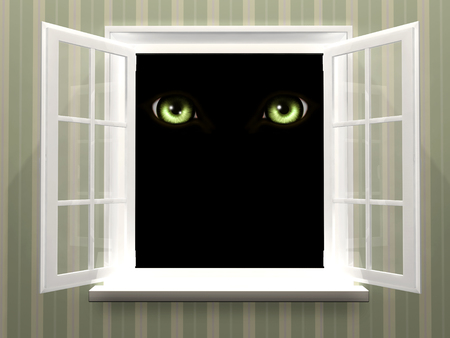 Green eyes of monster  in open window photo