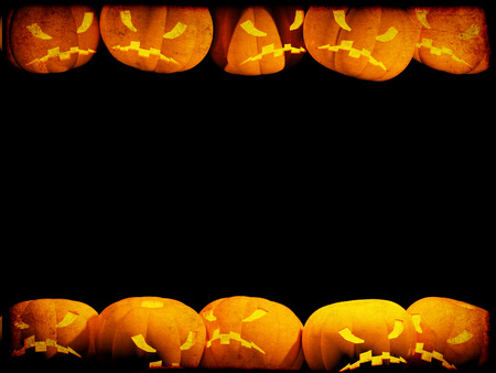 Halloween grunge background with evil pumpkins and paper texture photo