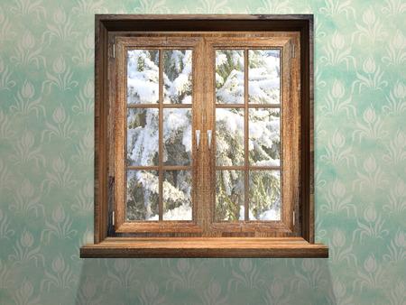 닫힌 나무 창. 3d 렌더링
