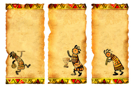 Collection of banners with African traditional patterns photo