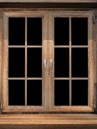 windows frame: Wooden window. 3d render Stock Photo