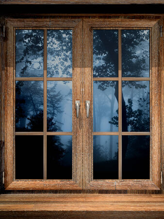 windowsill: Wooden window and misty forest