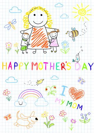 niños dibujando: Niños felices con mamá. Boceto en la página portátil Vectores