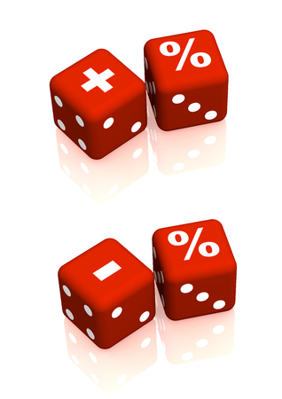 Red playing boxes with symbols plus, minus and percent. Objects on white background Stock Photo