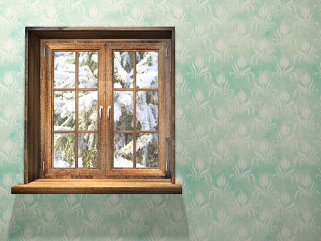 winter window: Closed wooden window. 3d render Stock Photo