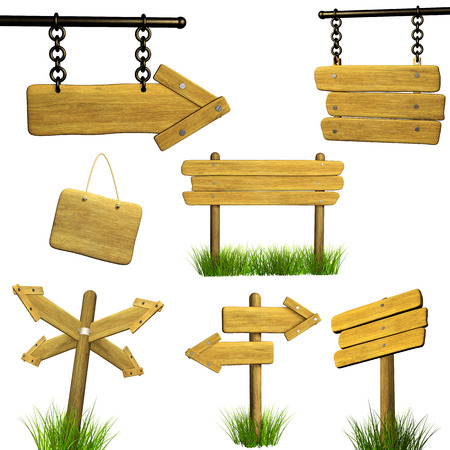 letreros: Colecci�n de letrero de madera. Objetos aislados sobre fondo blanco