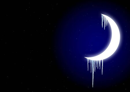 icicles: Winter fairy-tale - icicles on moon in the night sky Stock Photo