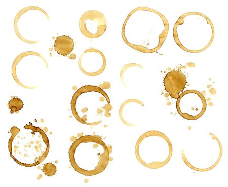 Collection stains of coffee for grunge design. Isolated on white background Reklamní fotografie