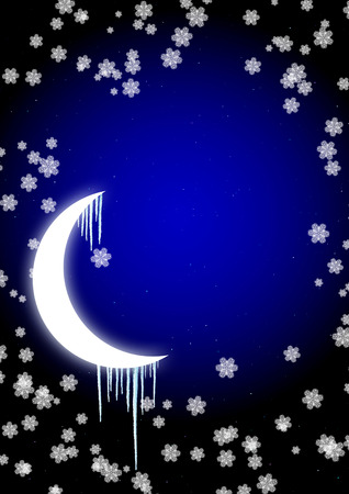 froze: Winter fairy-tale - icicles on moon in the night sky Stock Photo
