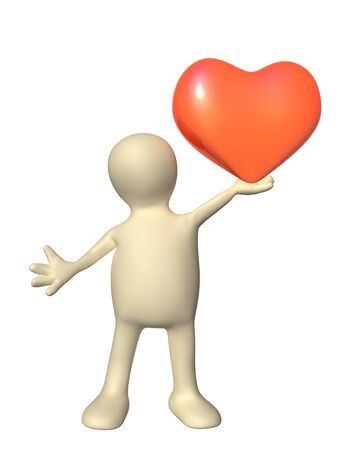 corazones: 3d  puppet, holding in hands red heart. Isolated on white background Stock Photo
