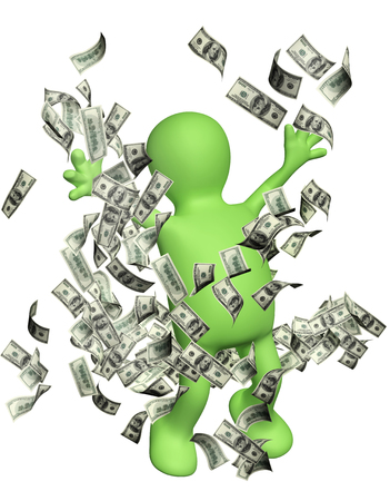 greenbacks: Happy puppet with money. Isolated on white background Stock Photo