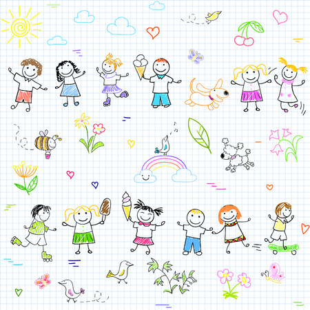 Seamless background with happy friends, playing outdoors. Sketch on notebook page Illustration