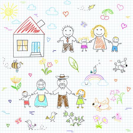 perro familia: Vector de fondo sin fisuras con la familia feliz. Boceto en la página portátil Vectores