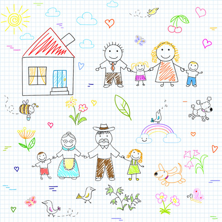 family with dog: Vector seamless background with happy family. Sketch on notebook page Illustration
