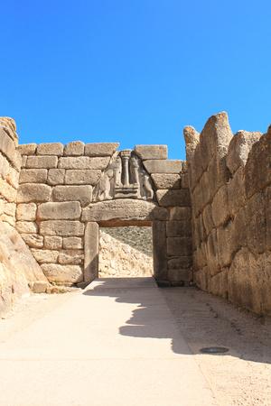 peloponnesus: The Lion Gate, Archaeological Site of Mycenae, Greece Stock Photo
