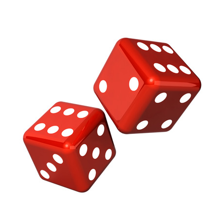 red dice: Falling red dice for gambling. Isolated on white background
