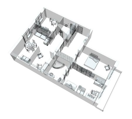 architect plans: 3d sketch of a four-room apartment. Isolated on white background