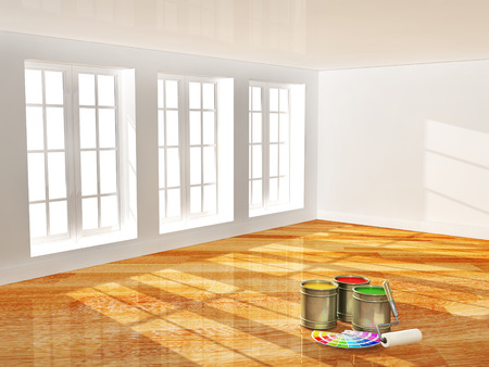 white paint: Empty room with new parquet floor