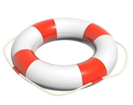 floatation: 3d lifebuoy. Object isolated on white background