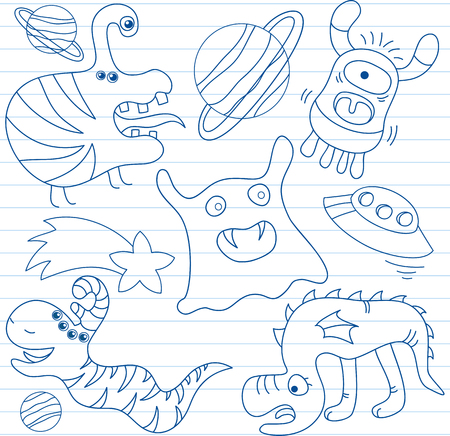 invade: Vector set of aliens and monsters. Sketch on notebook page
