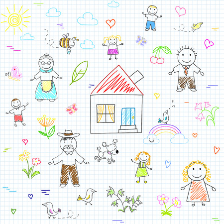 notebook page: Vector seamless background with happy family. Sketch on notebook page Illustration
