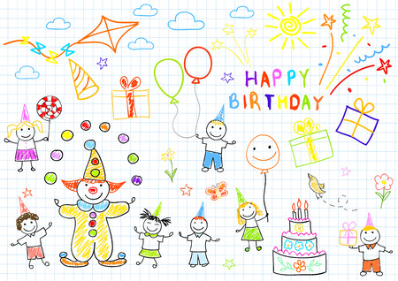 birthday candles: Happy birthday. Sketch on notebook page