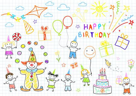 dessin enfants: Joyeux anniversaire. Sketch sur la page de portable Illustration